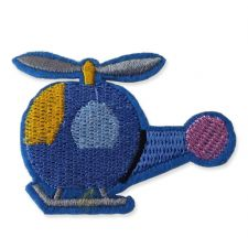 BLUE HELICOPTER MOTIF IRON ON EMBROIDERED PATCH APPLIQUE